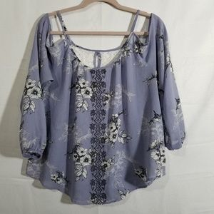 Rewind Floral Embroidered Cold Shoulder Blouse XL